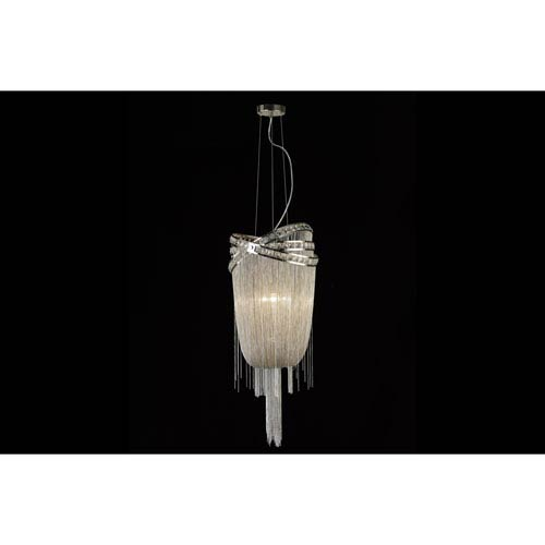 Avenue Lighting Wilshire Blvd. Polished Nickel Four-Light Chandelier