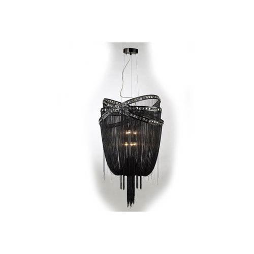 Wilshire Blvd. Black Chrome Six-Light Chandelier
