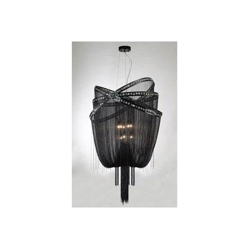 Wilshire Blvd. Black Chrome Nine-Light Chandelier
