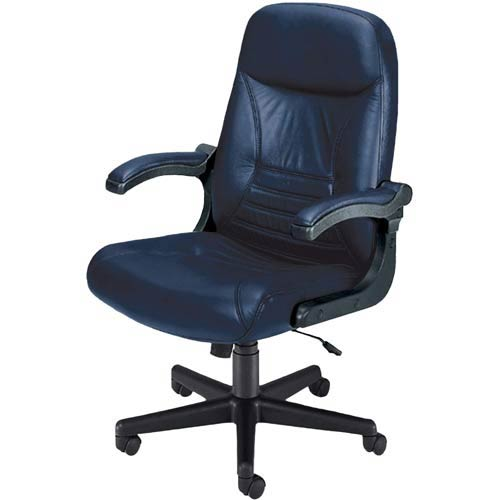 Navy Leather Mobile Arm Executive Chair