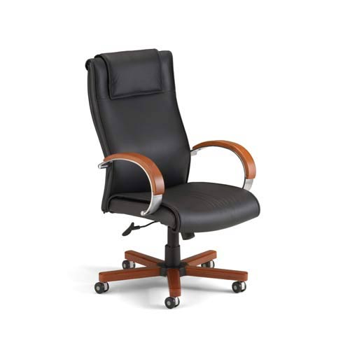Ofm Office Furniture Black Leather High Back Executive Chair With Cherry Wood Accents