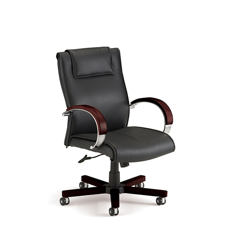Black Mid-Back Leather Executive Office Chair