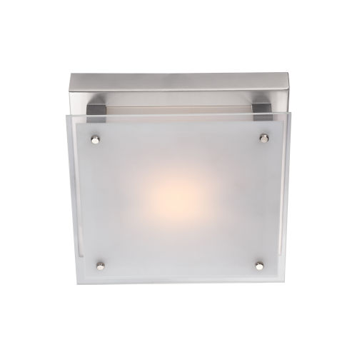 Helios Chrome 10-Inch LED Flush Mount with Silk Screened White Glass