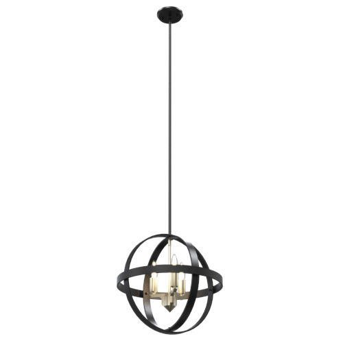 Compass Graphite Three-Light Orbit Pendant
