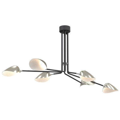 Abbey Road Graphite and Satin Nickel Six-Light LED Chandelier