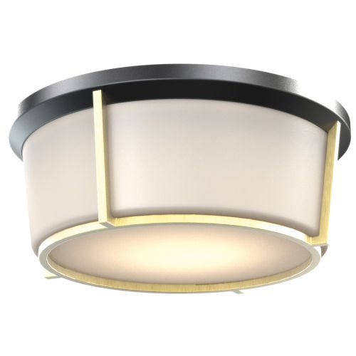 Jarvis Black and Soft Gold LED Flush Mount with Half Opal Glass