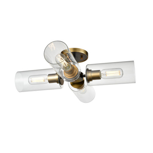 Barker Brass and Graphite Four-Light Semi Flushmount