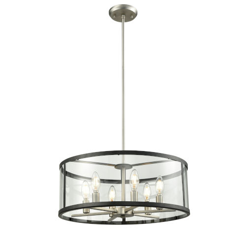 Downtown Brushed Nickel and Graphite Six-Light Pendant