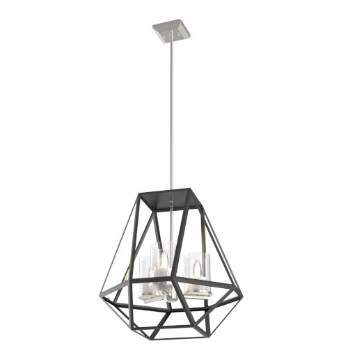Givenchy Brushed Nickel and Graphite Three-Light Pendant