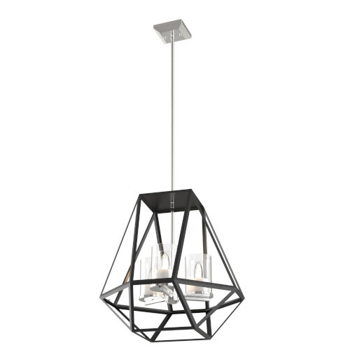Givenchy Chrome and Graphite Three-Light Pendant