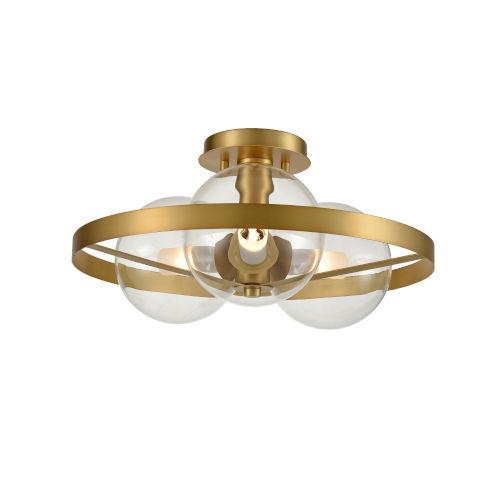 Courcellete Venetian Brass Three-Light Semi Flushmount