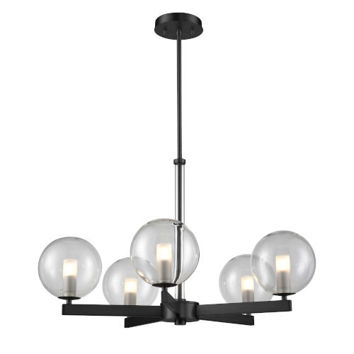 Courcelette Graphite Five-Light Chandelier with Clear Glass