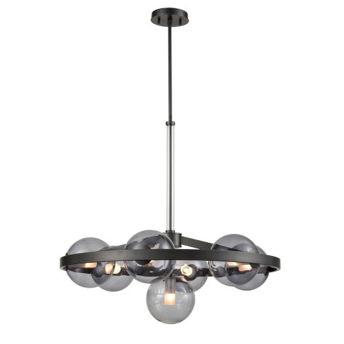 Courcelette Graphite Seven-Light Chandelier with Smoke Glass