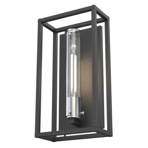 Sambre Stainless Steel and Hammered Black One-Light Outdoor Wall Mount