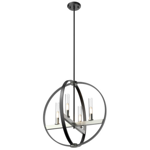 Mont Royal Satin Nickel and Graphite Four-Light Pendant