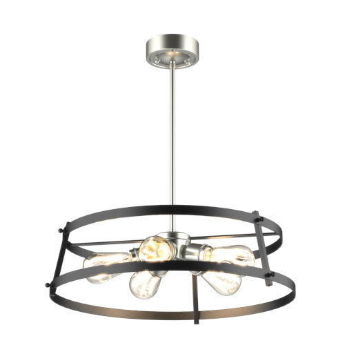 Gentry Satin Nickel and Graphite Five-Light Pendant