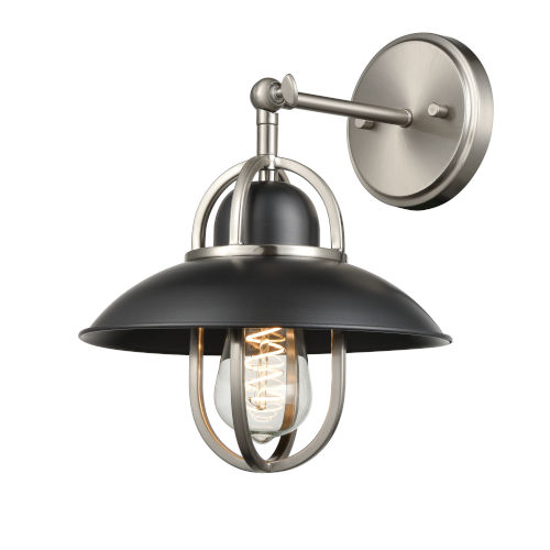 Peggys Cove Graphite and Satin Nickel One-Light Wall Sconce
