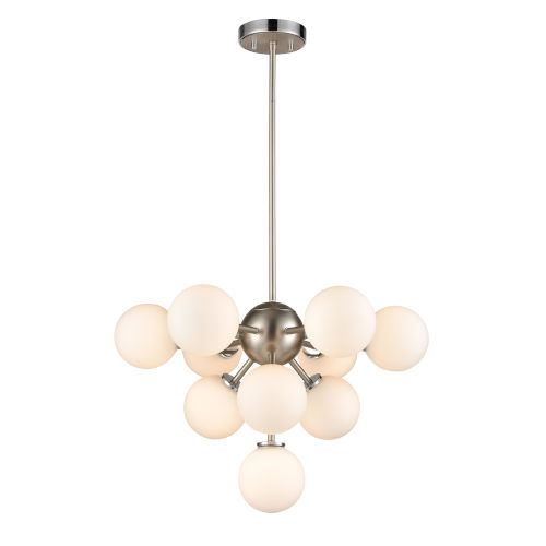 Alouette Chrome and Brushed Nickel Ten-Light Chandelier