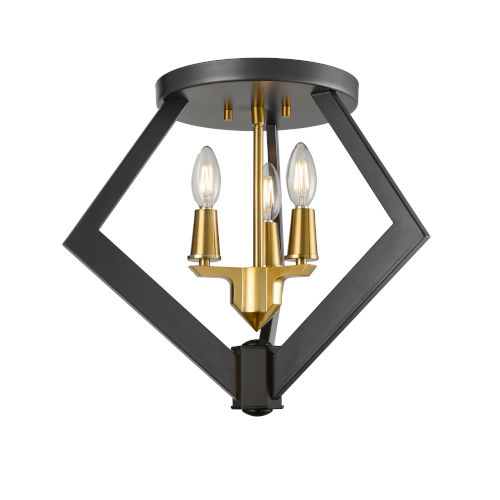 Flechette Brass and Graphite Three-Light Flushmount