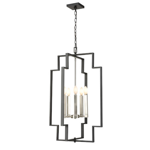 Provence Satin Nickel and Graphite Five-Light Pendant