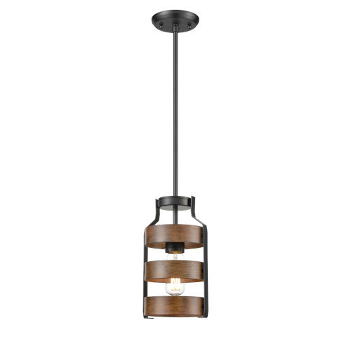 Fort Garry Graphite and Ironwood One-Light Mini Pendant