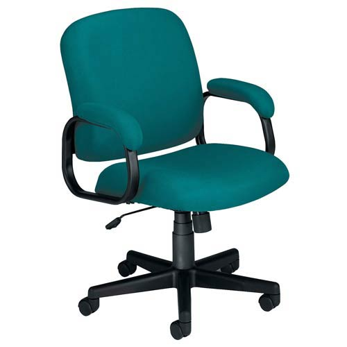 Teal Matte Fabric Low Back Desk Chair