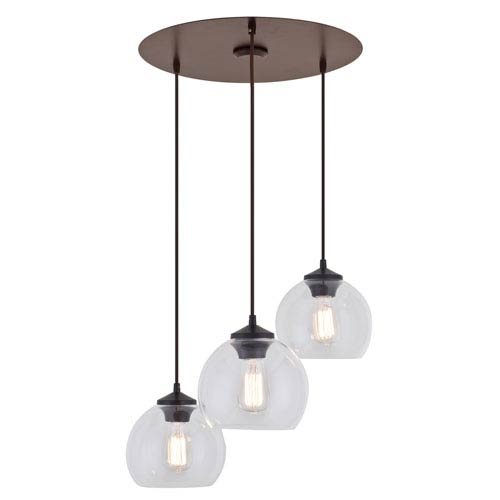 Oberon Mocha Three-Light Linear Pendant with Five Globes