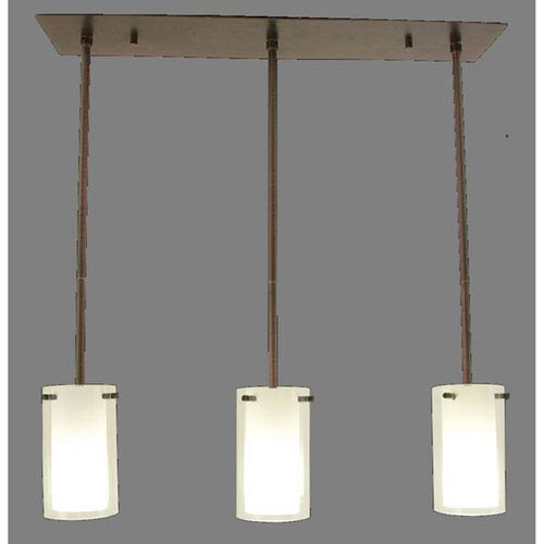 Essex Oil Rubbed Bronze 26-Inch Three-Light Mini Pendant on Adjustable Canopy with Opal Glass