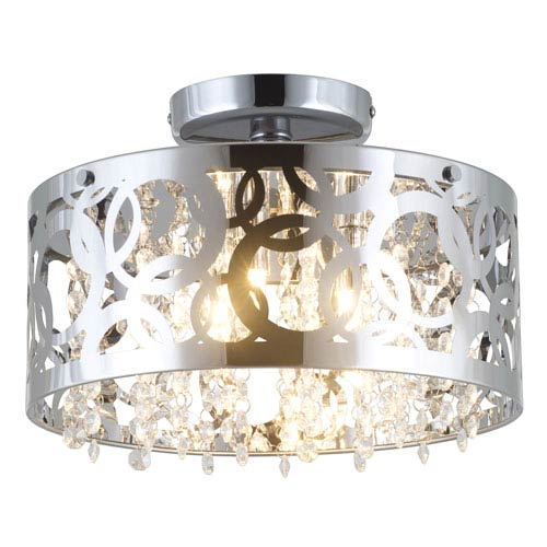 Woodstock Chrome 15-Inch Three-Light Semi Flush Mount