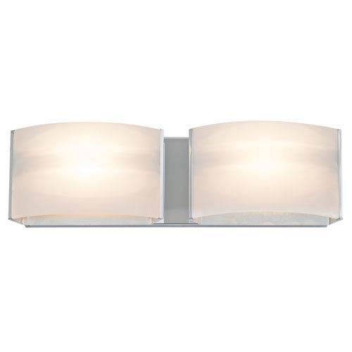 DVI Lighting Vanguard Chrome Two-Light Vanity with Half Opal Glass