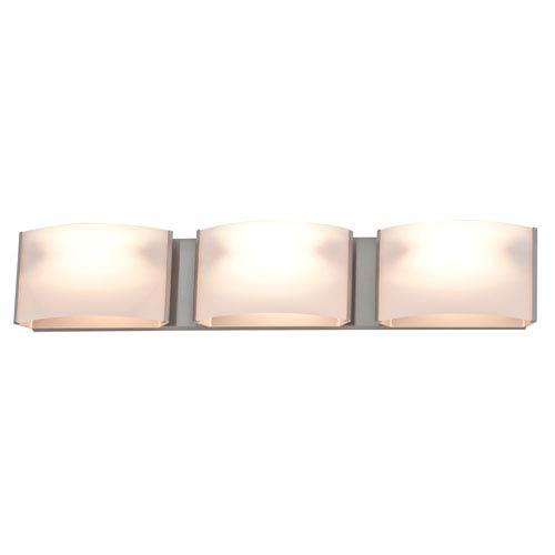 Vanguard Satin Nickel Three-Light Vanity with Half Opal Glass