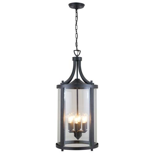Niagara Outdoor Hammered Black Six-Light Outdoor Hanging Lantern