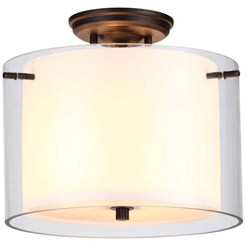 Essex Oil Rubbed Bronze 12-Inch Two-Light Semi Flush Mount with Opal Glass