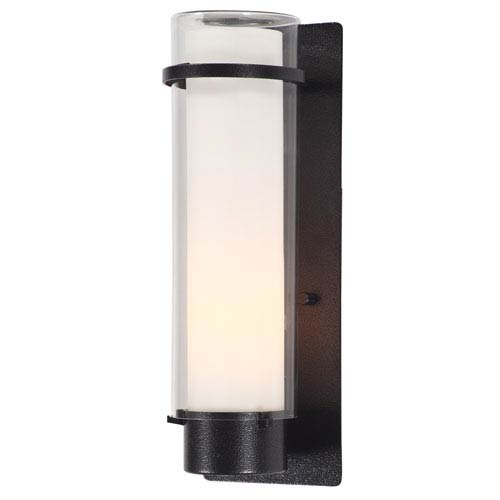 Essex Hammered Black 14-Inch One-Light Outdoor Sconce with Half Opal Glass