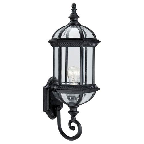 Hexagon Black 21-Inch One-Light Outdoor Wall Sconce