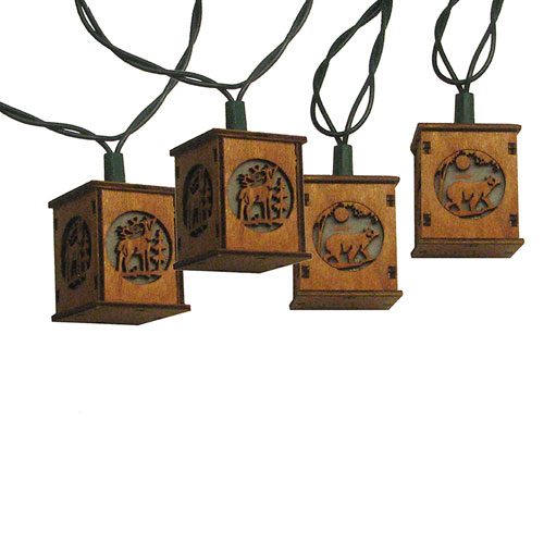 Beige 10-Light Wooden Lantern Light Set with Bears and Deer