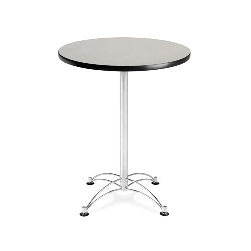 OFM Office Furniture Gray Nebula 30-Inch Round Cafe Table with Chrome Base