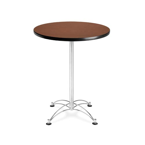 Mahogany 30-Inch Round Cafe Table with Chrome Base