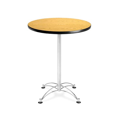 Ofm Office Furniture Oak Inch Round Cafe Table With Chrome Base - 30 inch round office table