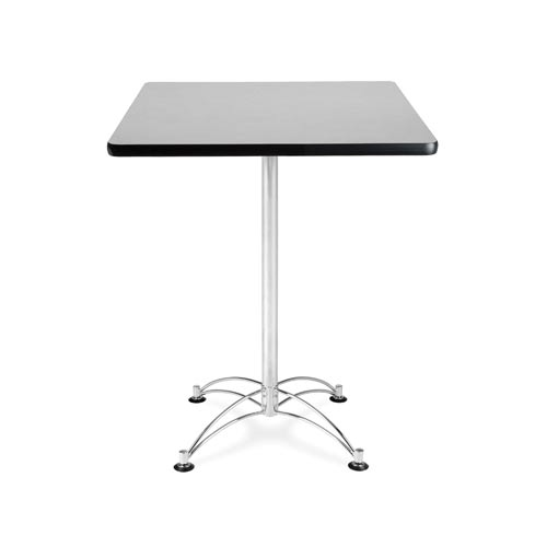 30-Inch Square Gray Nebula Cafe Table with Chrome Base