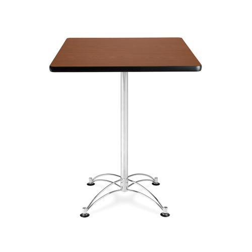 30-Inch Square Mahogany Cafe Table with Chrome Base