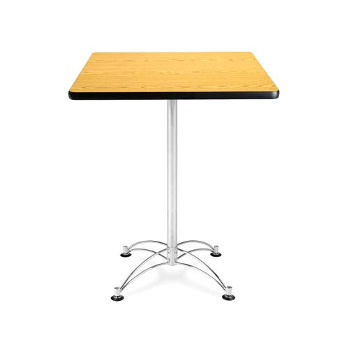 30-Inch Square Oak Cafe Table with Chrome Base