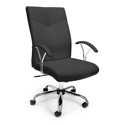 Black Leather Swivel and Tilt Executive Office Chair with Arms