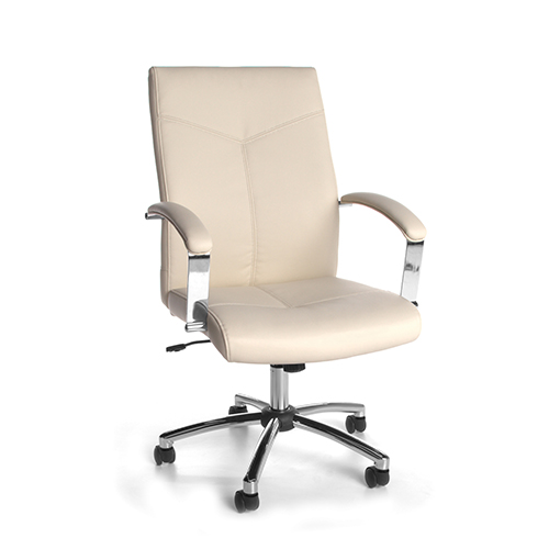 Cream Leather Swivel and Tilt Executive Office Chair with Arms