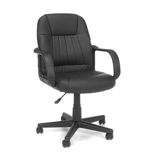 OFM Office Furniture Black Leather Swivel Executive Office / Conference Chair with Arms