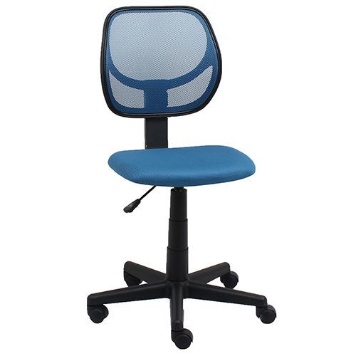 Blue Armless Mesh Swivel Task Chair