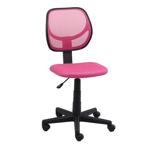 Pink Armless Mesh Swivel Task Chair