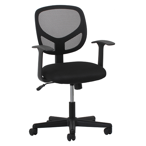 Black Swivel Mesh Armless Task Chair with Arms