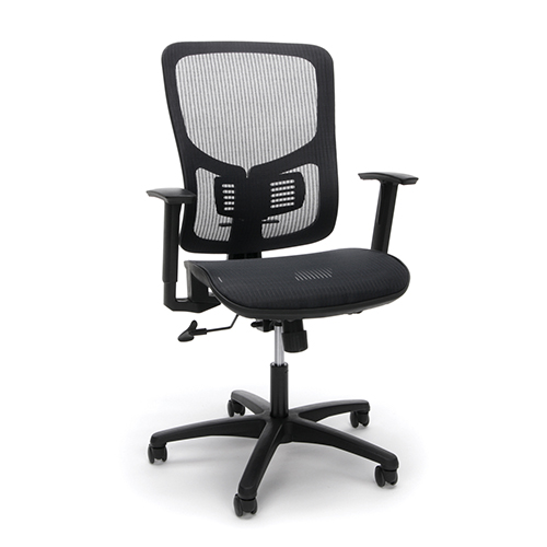 Black Mesh Seat Ergonomic Office Chair with Arms and Lumbar Support