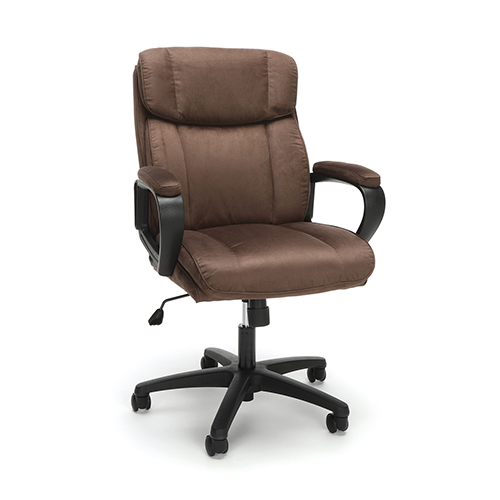 Brown Plush Microfiber Office Chair